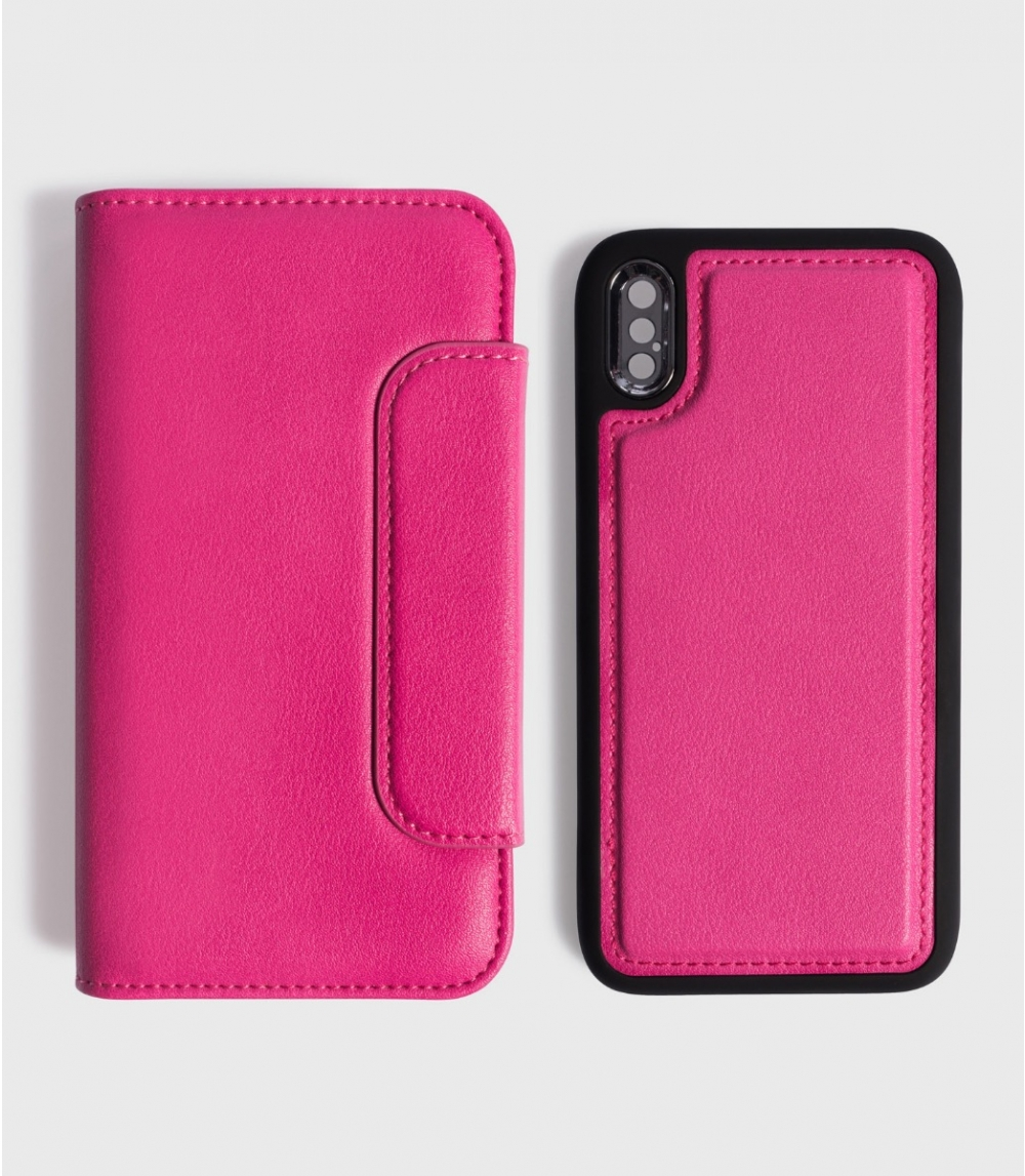 MAGNETIC FLIP CASE WALLET IPHONE X / XS, Punch Pink
