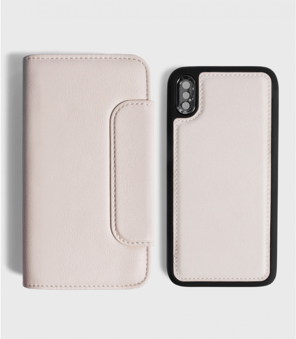 MAGNETIC FLIP CASE WALLET IPHONE X / XS, Cold Offwhite