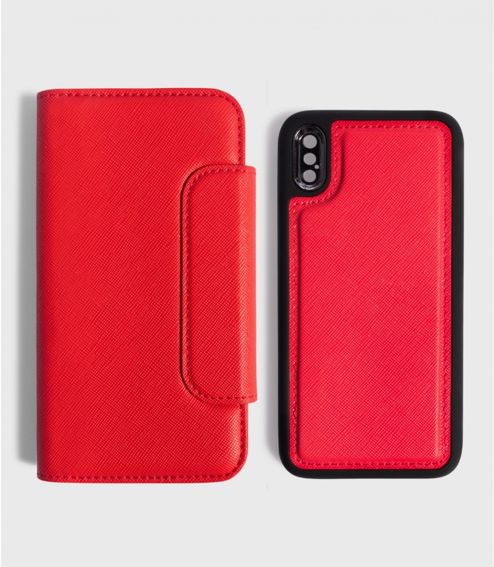 MAGNETIC FLIP CASE WALLET IPHONE X / XS, Kiss Red