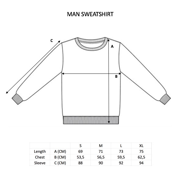 Personalized man sweatshirt size guide